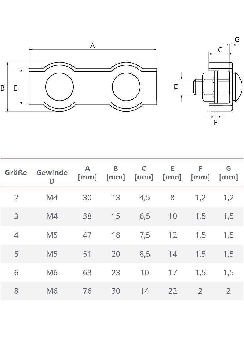 Seilwerk STANKE 100x Serre-C/âble Plat de Selle Double Zingu/é Taille 2 Connecteur Galvanis/é Duplex Pour C/âble d/'Acier 2 mm