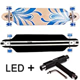 FunTomia® Longboard Skateboard Board Skaten Cruiser Komplettboard mit ABEC-11 High Speed Kugellager T-Tool (Modell Freerider - Farbe blau Blume mit LED Rolle + T-Tool)