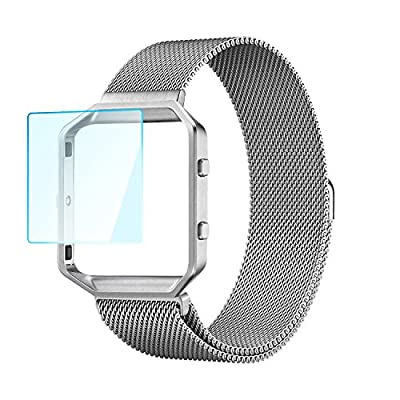 iMiWell Fitbit Blaze Bands Small, Rugged Metal Frame Housing with Magnet Lock Milanese Loop Stainless Steel Bracelet Strap Band for Fitbit Blaze Smart Fitness Watch(5.1''-7.9'')