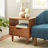 Mid-Century Modern Side Table, Pecan Colored Finish