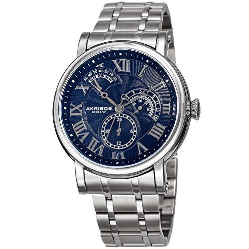 Akribos XXIV Men's Quartz Multifunction Guilloche Pattern Silver-Tone/Blue Stainless Steel Bracelet Watch - AK1001SSBU (Pattern Guilloche)