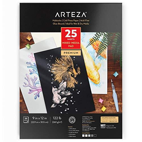 """Arteza Colored Watercolor Pad, 25 Sheets, 9""""x12"""" (22.86 x 30.48cm), Glue-Bound, 5 Shades Colored Watercolor Paper: White, Cream, Light Gray, Gray, & Black"""