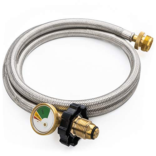 SHINESTAR 5FT POL Stainless Braided Propane Hose Adapter with Propane Tank Gauge, 1 lb to 20 lb Propane Converter Hose for Propane Stove, Tabletop Grill and More 1lb Portable Appliance ()