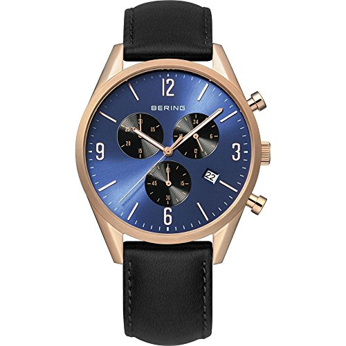 BERING Time 10542-567 Men's Classic Collection Watch with Leather Band and scratch resistant sapphire crystal. Designed in Denmark. 10542-567