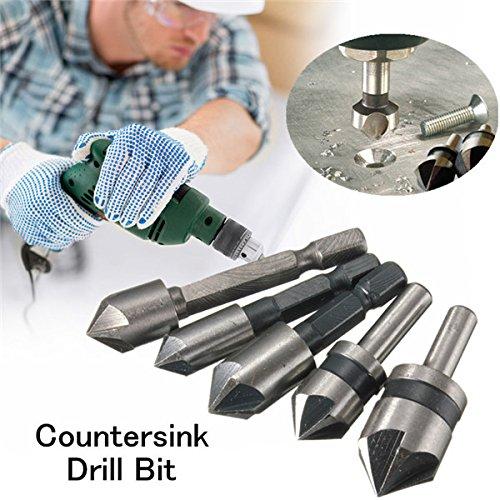 5pcs 5 Flute 82/90 Degree Countersink Drill Bit Set Counter Sink Chamfer Bits by BephaMart