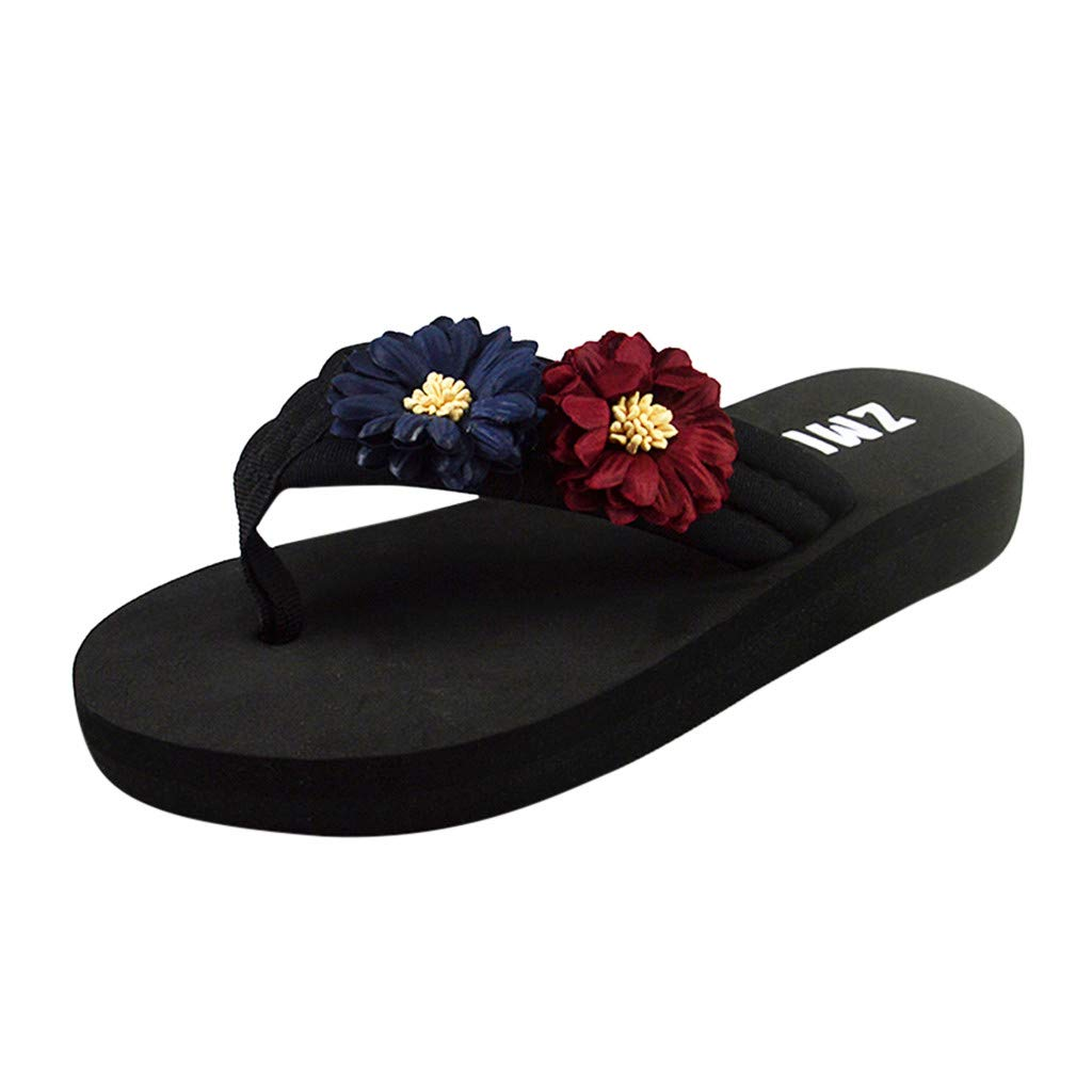 VonVonCo Women's Ladies Summer Flowers Home Beach Shoes Sandals Flip Flops Slippers Blue
