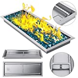 VEVOR 31.5x12 Inch Fire Pit Pan Stainless Steel Linear Trough Drop-in Fire Pit Pan Rectangular Table Top Fire Pit Fire Bowl, 90k BTU, Double Burner