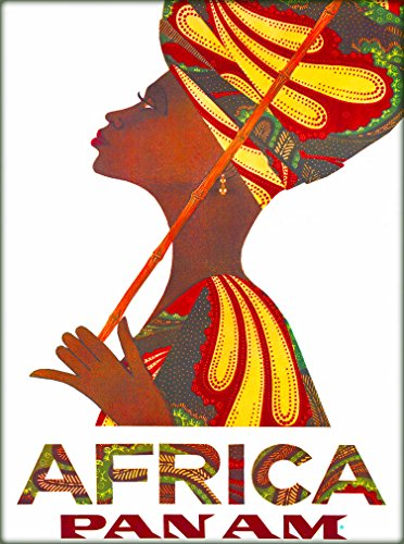 (A SLICE IN TIME Beautiful Woman Africa Pan Am African Vintage Airline Airlines Travel Advertisement Art Wall Decor Collectible Poster Print. Measures 10 x 13.5 inches.)