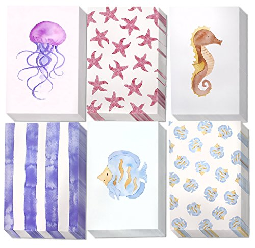 Greeting Cards - 48 Pack Sea Collection (Starfish; Jellyfish) Assorted All-Occasion Greeting Cards in 6 Designs with Envelopes Included 4 x 6 Inches by Juvale