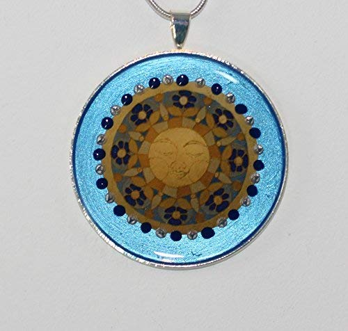 Isla del Sol Tie Clip 2-001 Islas de la Luz Sun Maya Inca Mandala Positive Energy Jewelry Accessory Gift Men Blue Golden Unique