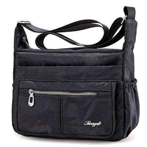 Nylon Waterproof Crossbody Shoulder Bag - Adjustable Shoulder Strap Handbag Multiple Zippered and Elastic Pockets with Organizer for Wallet, Passport, Boarding Pass Water Resistant Messenger Bag