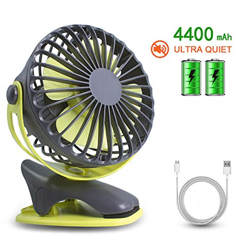 - Gontar Clip-on Stroller Fan 4400 mAh Rechargeable Lithium Battery & USB Cable 360°Rotation Adjustable Speed-Operated Accessory for Baby, Car Seat, Gym, Travel, Treadmill