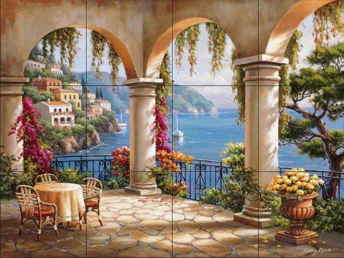 Ceramic Tile Mural - Terrace Arch II - by Sung Kim - Kitchen backsplash / Bathroom shower - Terrace Arch