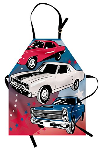 Female Pop Star Costume Ideas (Cars Apron by Lunarable, Pop Art Stylized Group of Nostalgic American Muscle Cars with Stars Antique Print, Unisex Kitchen Bib Apron with Adjustable Neck for Cooking Baking Gardening, Red Beige Blue)