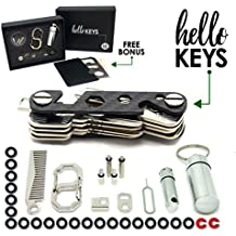 Key Organizer by Hello Keys | Compact Key Holder | Made of Carbon Fiber & Stainless Steel | Holds up to 36 Keys | Includes LED Flashlight, Hair & Beard Comb,Cash Stash & More + FREE Survival MultiTool