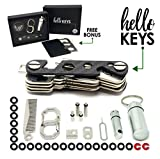 #10: Key Organizer by Hello Keys | Compact Key Holder | Made of Carbon Fiber & Stainless Steel | Holds up to 36 Keys | Includes LED Flashlight, Hair & Beard Comb,Cash Stash & More + FREE Survival MultiTool