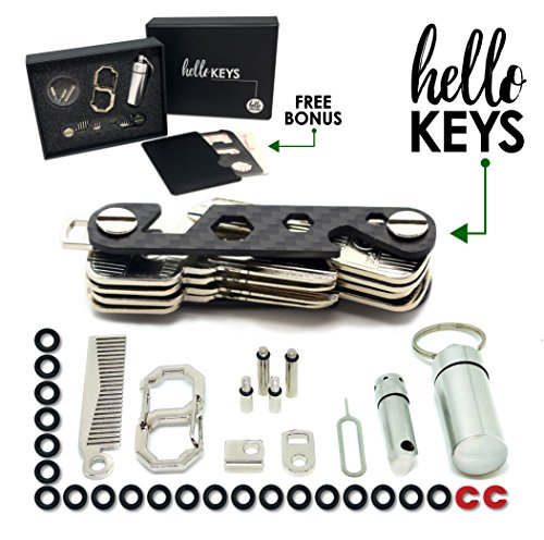 Outdoor Installation Kit (Key Organizer by Hello Keys | Compact Key Holder | Made of Carbon Fiber & Stainless Steel | Holds up to 36 Keys | Includes LED Flashlight, Hair & Beard Comb,Cash Stash & More + FREE Survival MultiTool)