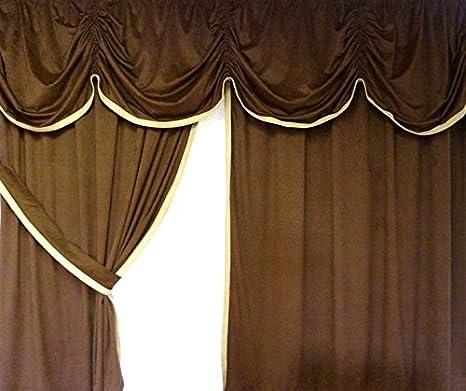 Camiones De Cama cortina/cortinas 15 Central de Alcantara de plástico en color marrón con borde de piel beige de 4 piezas diseñada para todos los vehículos: ...