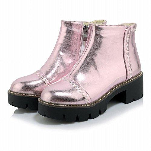 Heel Pink Platform Chic Charm Stylish Boots Mid Women's Zip Carolbar Short RSqBBw