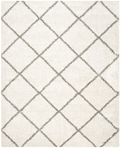 Safavieh Hudson Shag Collection SGH281A Ivory and Grey Moroccan Diamond Trellis Area Rug (8' x 10') from Safavieh