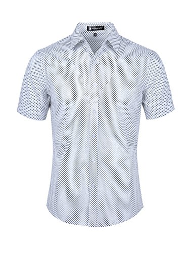 - uxcell Mens Short Sleeves Button Up Cotton Polka Dots Shirt White L US 42