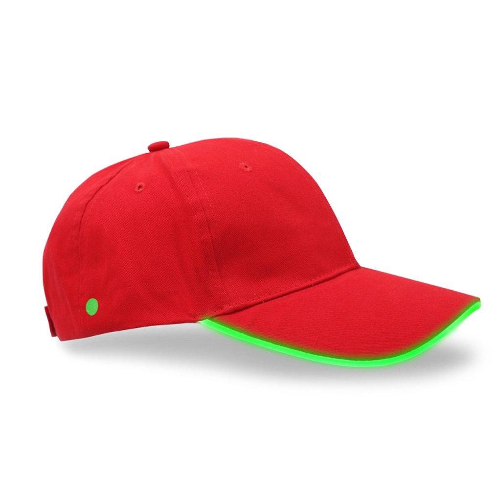 Lamdoo Unisex LED Light Up Hat Sport Baseball Hip-hop Adjustable Club Night Fishing Cap Black hat Green light