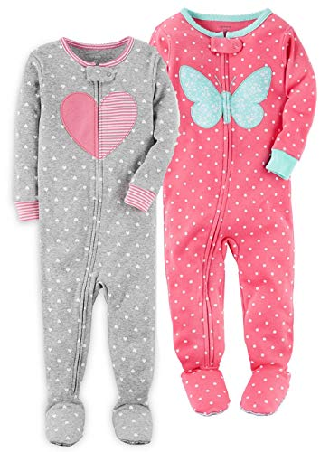 Carter's Girls' 2-Pack Cotton Pajamas (Dots/Floral, 18 Months)