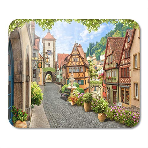 Pave Italian (Semtomn Gaming Mouse Pad Italy Digital Fresco Italian View Garden Pot Flowers Arch 9.5