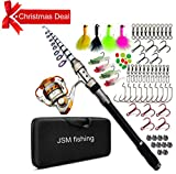 JSHANMEI Spin Spinning Rod and Reel Combos Fishing Carrier Bag Case Portable Telescopic Fishing Rod with Reel Combo Sea Fishing Saltwater Freshwater Fishing Pole Rod Set (3.0M Full KIT)