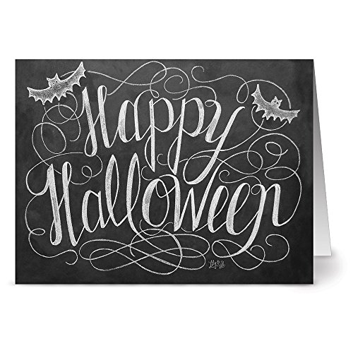 24 Chalkboard Note Cards - Happy Halloween - Blank Cards - Kraft Envelopes -