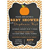 Pumpkin Baby Shower Invitations, Chalkboard, Chevron, Stripes, Unisex, Pumpkins, Fall, Orange, Autumn, Blackboard, 10 Custom Printed Cards with Envelopes,