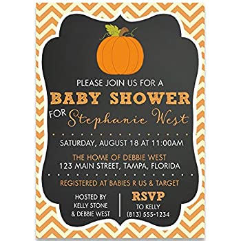Pumpkin Baby Shower Invitations, Chalkboard, Chevron, Stripes, Unisex,  Pumpkins, Fall