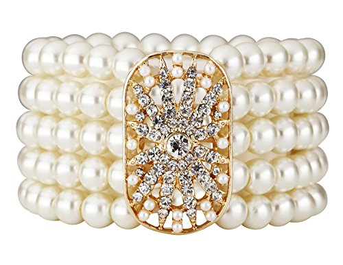 1920s Costumes Jewelry (Vintage 20s 30s Flapper Acessories Gatsby Inspired Bridal Wedding Elastic Faux Pearl Bracelet Bangle Costume Jewelry (Gold))