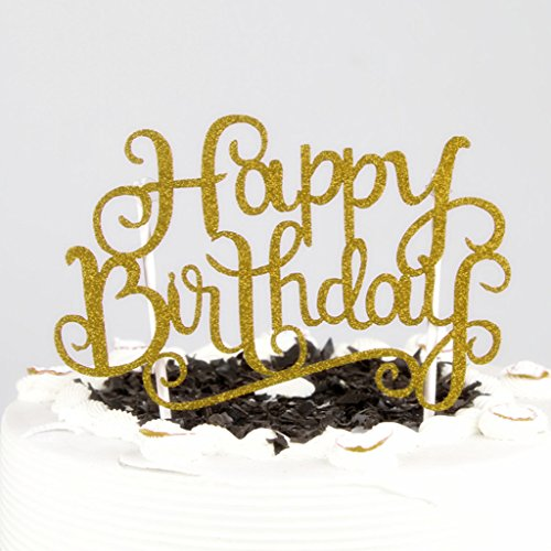 Amrka Happy Birthday Letter Insert Card Dazzling With Stick Cake Topper Decor Wedding Party Decoration (Ducky Birthday Cake)