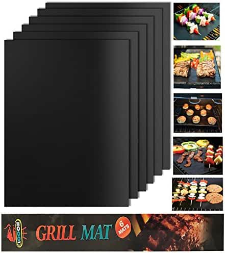 Looch Grill Mat Set of 6- 100% Non-stick BBQ Grill & Baking Mats - FDA-Approved, PFOA Free, Reusable and Easy to Clean - Works on Gas, Charcoal, Electric Grill and More - 15.75 x 13 Inch
