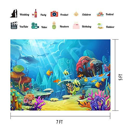 VVM 7x5ft Underwater World Backdrop Cartoon Colorful Sea