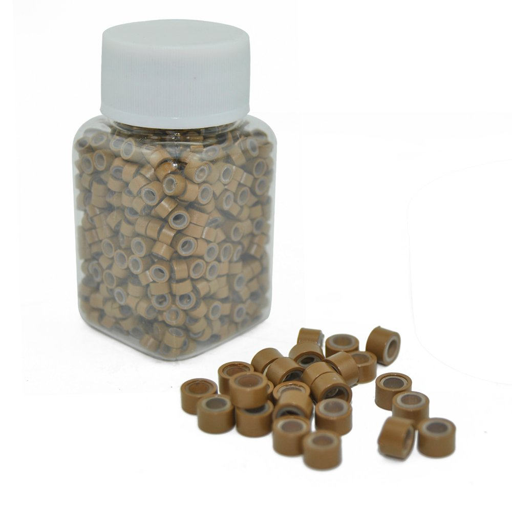 E-TING 1000 PCS 5mm Light Brown Color Silicone Lined Micro Rings Links Beads Linkies for I Bonded Tipped Hair Extensions
