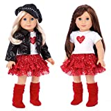 DreamWorld Collections - Chic and Sassy - 5 Piece Outfit - Clothes Fits 18 American Girl Doll - Motorcycle Faux Leather Jacket with Paperboy Hat, White T-shirt, Red Skirt & Boots (Doll Not Included)