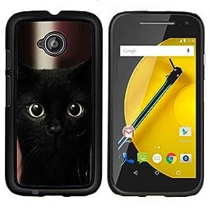 LECELL--Funda protectora / Cubierta / Piel For Motorola Moto E2 E2nd Gen -- Gatito del gato negro de Bombay Nebelung --