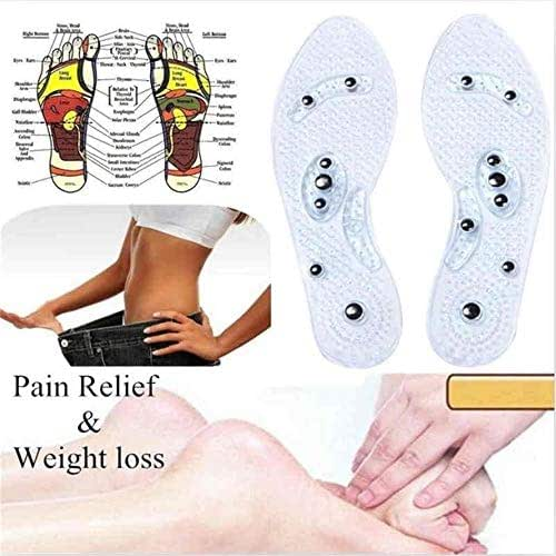 Magnetic Insoles for Women and Men Weight Loss Adjustable Silicone Magnetic Therapy Insole Foot Massaging Acupresssure Pain Relief Health Care Insole Pads 1 Pair