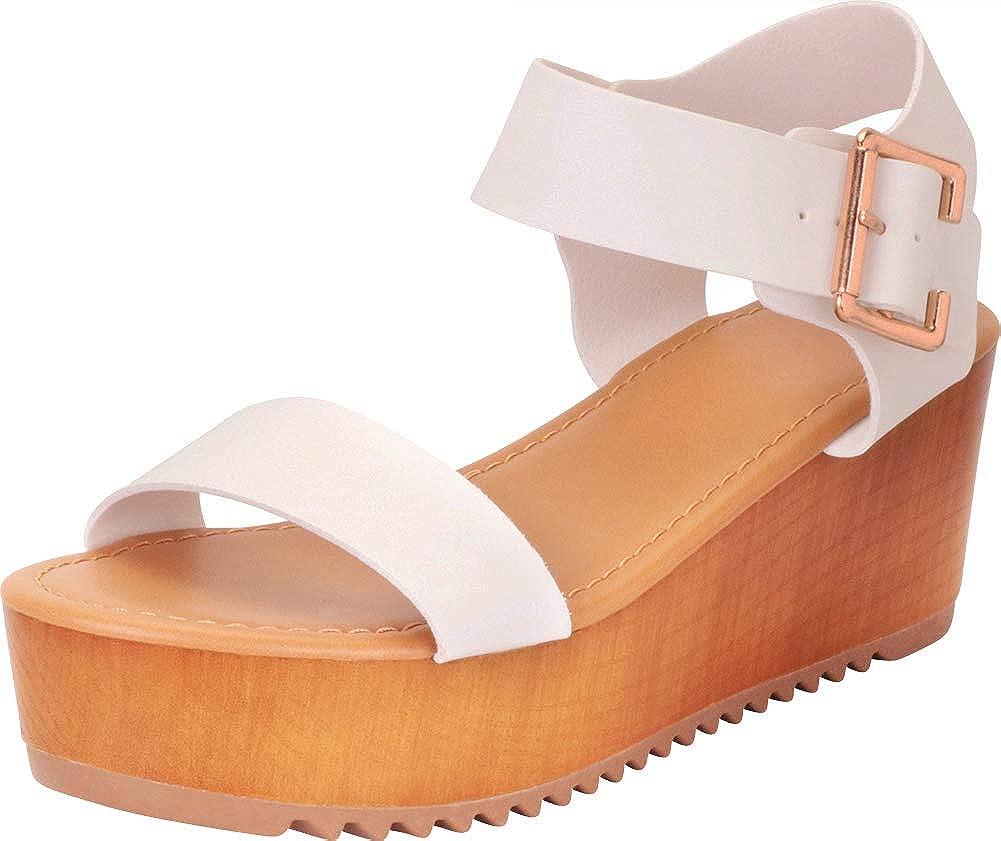 White Pu Cambridge Select Women's Open Toe Retro 70s Chunky Flatform Sandal