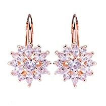 Presentski Rose Gold Plated Flower Design Stud Earrings with White Cubic Zirconia for Women Girls