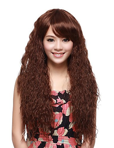 Wigs have an attractive convenience fashion Capless Synthetic Long Curly Brown Fluffy Hair Wigs (Long Ginger Wig)