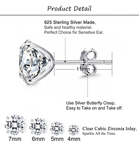 FUNRUN JEWELRY 4 Pairs Sterling Silver Stud Earrings for Women Men CZ Earring Piercing Hypoallergenic (A:4 pairs cubic zirconia)