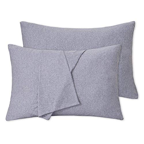 EMME 100% Cotton Pillowcase with Zippers Set of 2 Standard 20x26 Jersey Knit Hypoallergenic Pillowcases Breathable Bedding Pillow Cover Eco-Friendly Pillow Encasement for All Season (Grey) ()
