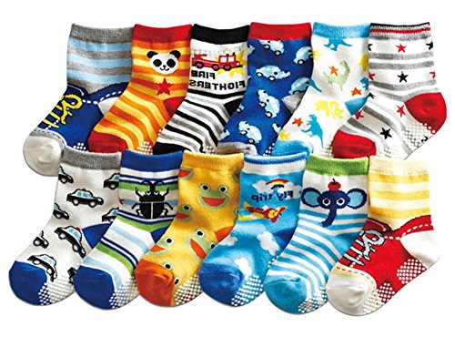 12 Pairs Baby Boy Socks with Grips 12-24 Months Toddler Infant Ankle Rubber Shoe Walker Non Slip Skid Socks from FlyBear