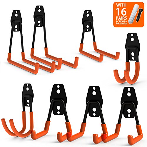 CoolYeah Steel Garage Storage Utility Double Hooks, Heavy Duty for Organizing Power Tools,Ladders,Bulk items (Pack of 8) - Ladder Steel