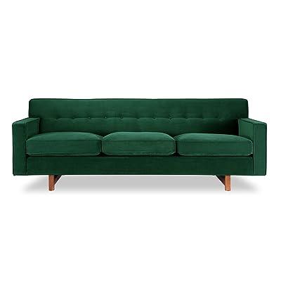 Kardiel Kennedy Mid-Century Modern Classic Sofa, Jade Plush Velvet