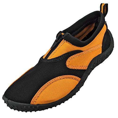 Cambridge Select Kids Slip-on Quick Dry Mesh Zipper Zapato De Agua Antideslizante (little Kid) Negro / Naranja