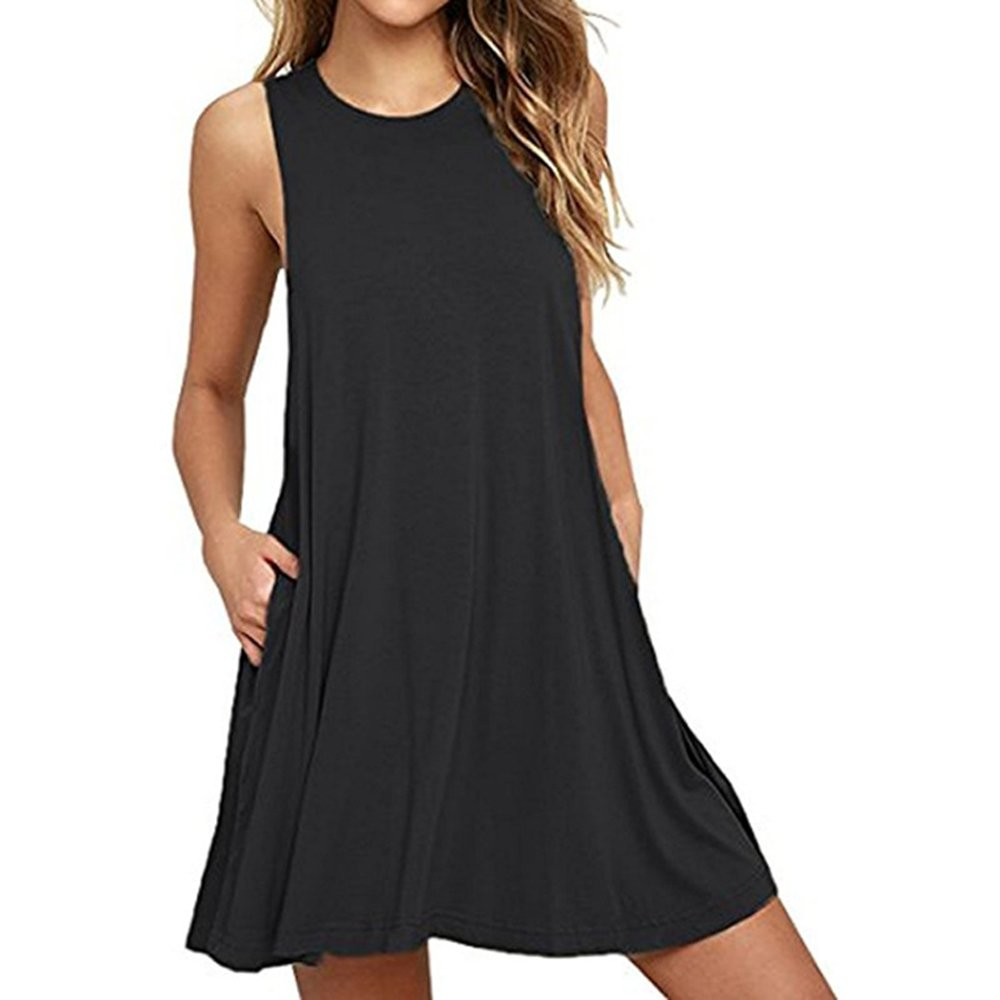 Blacka QIUYEJUO Women's Summer Casual Plain Swing Side Pockets Loose Beach Cami Maxi Long Dress